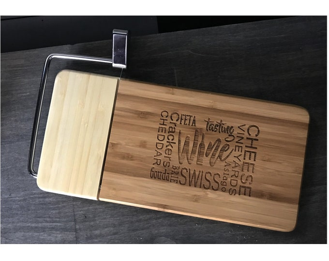 Two Tone Bamboo Cheese Slicer Serving Tray -- Laser Engraved Wine and Cheese Themed Cheese Slicer and Serving Tray -  Great Gifts!