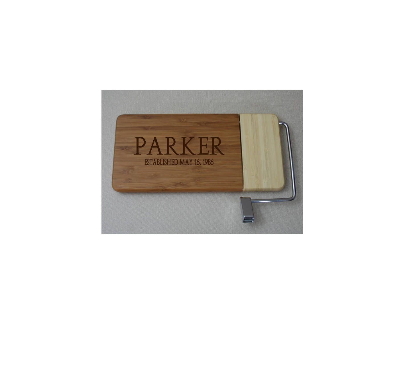 New !! Bamboo Cheese Slicer Board - Personalized Laser Engraved ...