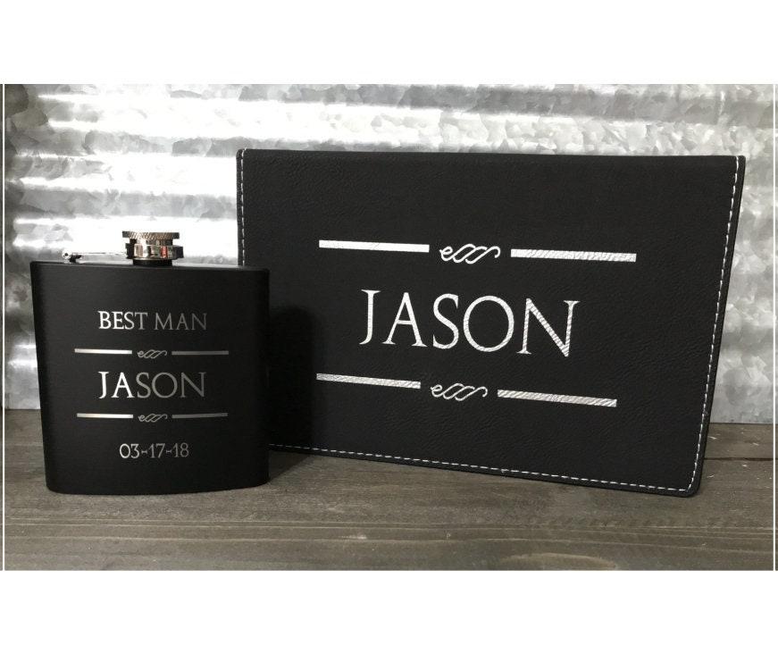 Personalized 6 Oz Leatherleatherette Groomsmen Flask Gift Sets