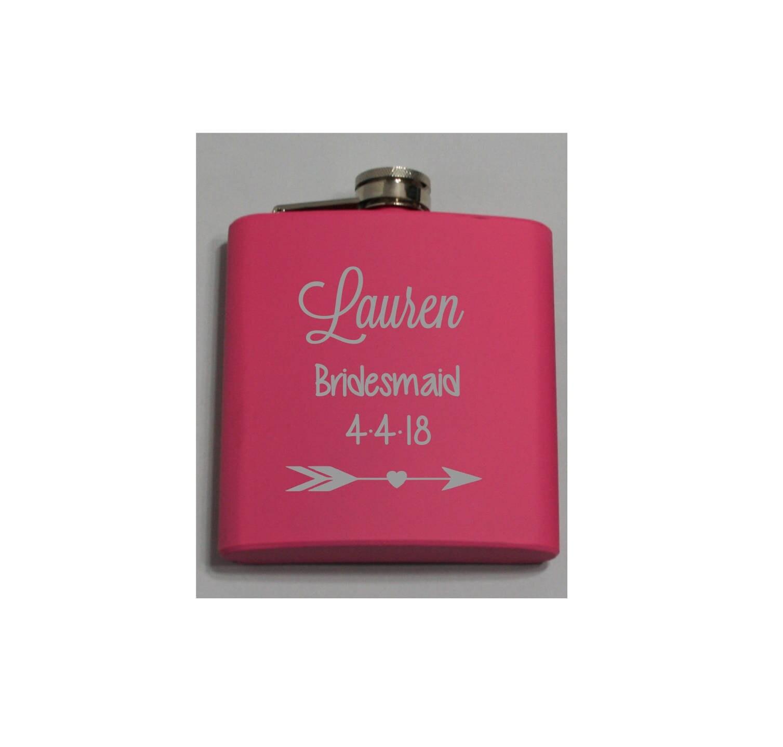 Bridal Party Flasks - Personalized 6oz Wedding Flasks - Pink, Royal ...