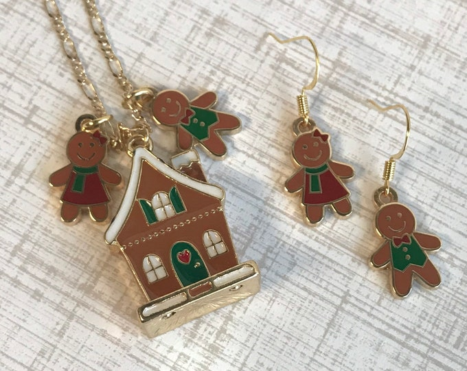Gingerbread Necklace and Earrings Set