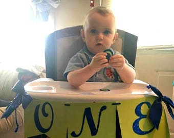 Blue and Green First Birthday High Chair Banner