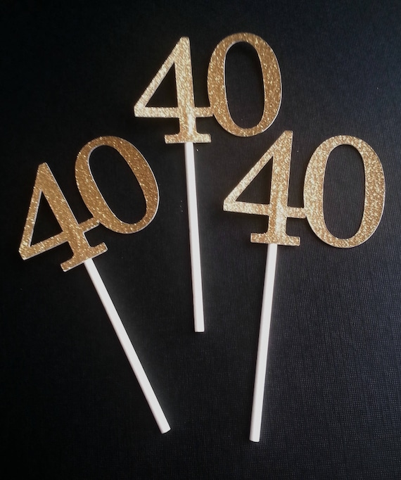 40 Birthday Party Cupcake Toppers 40th 12 Ct Forty Gold Glitter Fortieth Anniversary Ideas