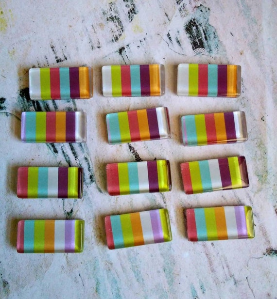 Striped Glass Fridge Magnet Set, decorative magnets, handmade magnets, set of 4 magnets, rectangle magnets, stocking stuffer, ready to ship