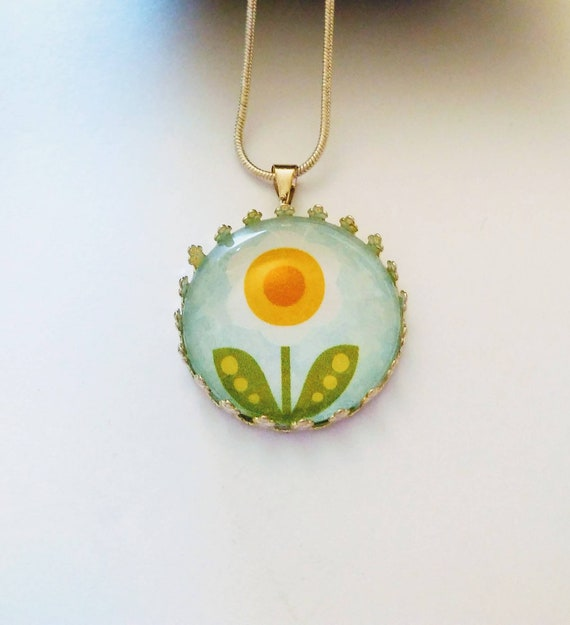 flower charm necklace, glass pendant, gift for niece, daughter birthday, granddaughter gift, princess pendant, girl jewelry, ready to ship