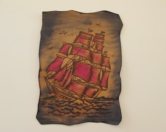Handcrafted Leather Patch with Pyrography. The ship