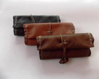 Handmade exclusive leather tobacco pouch in 3 colors