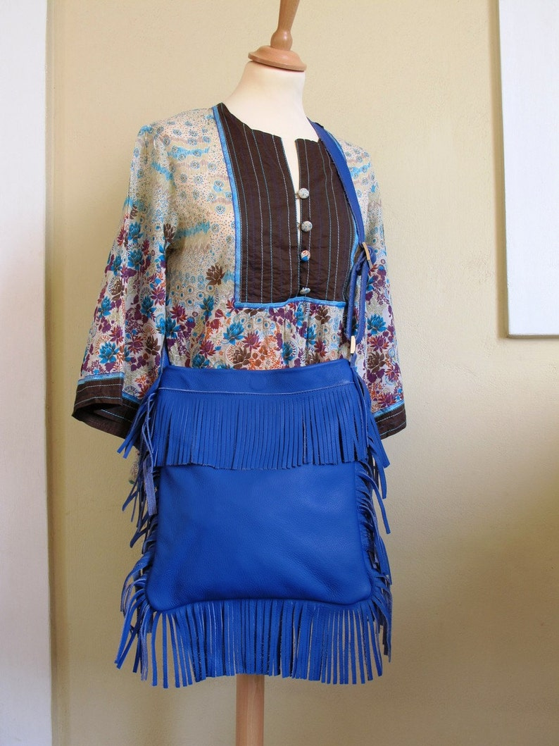 available in 16 Colors Blue Crossbody bohemian bag Fringed Leather Bag Boho bag
