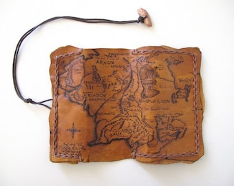 Handmade exclusive leather tobacco pouch with pyrography . Map of the Middle Earth.