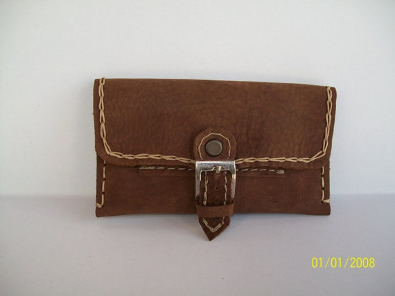 Handmade tobacco pouch with Greek quality leather in dark brown.