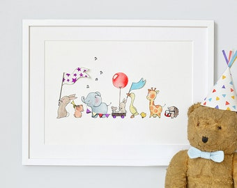 Animals on Parade, UNFRAMED Nursery Art Print Picture, Giclée Print, baby's bedroom Illustration, Children's decor, Personalised with name,