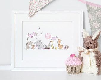 Pink Parade, UNFRAMED Nursery Art Picture, Giclée Print, baby's bedroom Illustration, Baby Girl, Pastel Pink, Pale Pink, Children's decor