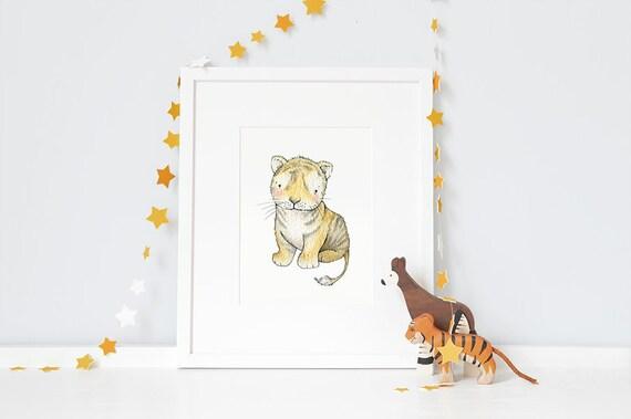Tiger Nursery Art PrintSafari New Baby Christening Baptism GiftUnframed