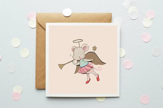 Angel Mouse Christmas Card Kids Christmas Greetings Etsy