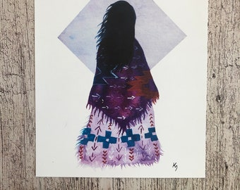 Purple Sky, wise woman, Print 8.5 x 11 inches