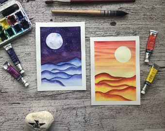 Original watercolor Pair, Day and Night, mountains, abstract landscape
