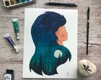Print of original watercolor, Sky Within Series, 8.5 x 11 inches