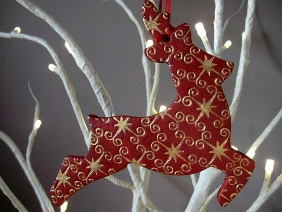 christmas reindeer reindeer decoration woodland deer rudolph air dry clay tree decorations christmas decoration by tamara harris