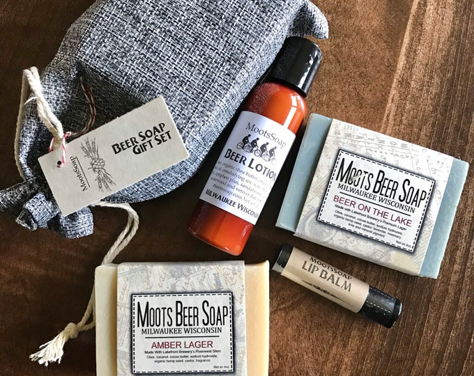 Featured listing image: Beer Soap Gift Set, handmade, beer soap, beer lotion, hops lip balm