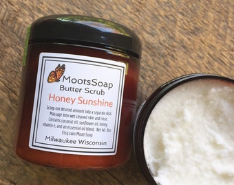 Butter Scrub - Honey Sunshine - Sugar Scrub - Natural Body Scrub - Citrus
