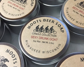 Candles - Soy Wax - 3.3 ounce Tin - Beer Theme - Essential Oils and Fragrance Oil