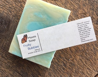 Fruity Bubbles Soap, Handmade Soap, Natural Soap, Cold Processed Soap, Palm Free Soap