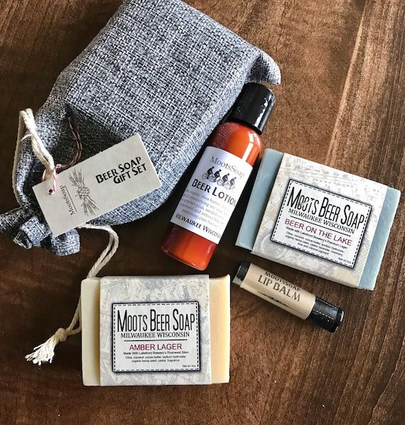 Beer Soap Gift Set, handmade, beer soap, beer lotion, hops lip balm