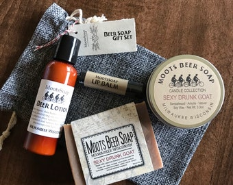 Beer Soap Gift Set, handmade beer soap, beer lotion, hops lip balm and Candle
