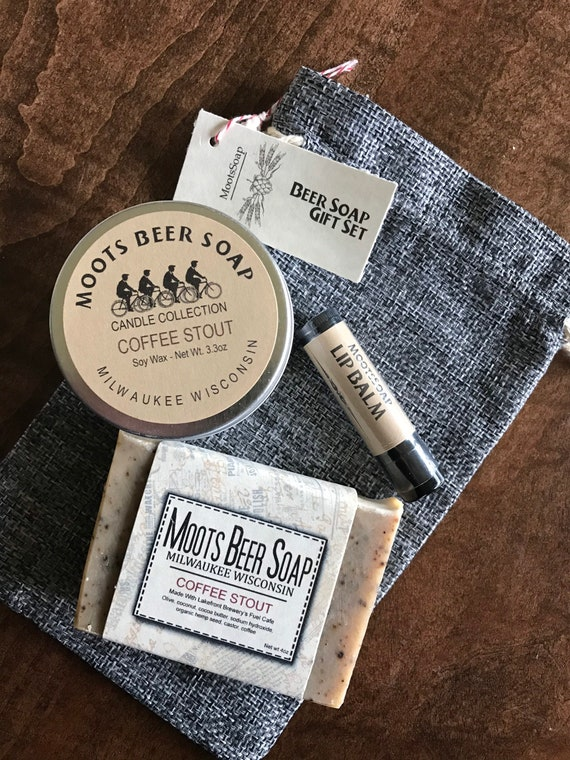 Beer Soap Gift Set, Coffee Stout, handmade beer soap, coffee stout lip balm and a Candle
