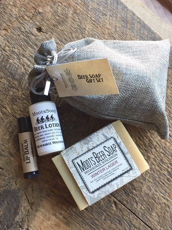Beer Soap Gift Set, handmade, beer soap, beer lotion, hops lip balm