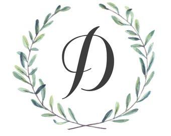Custom Letter Monogram, Olive Branch Digital Printable