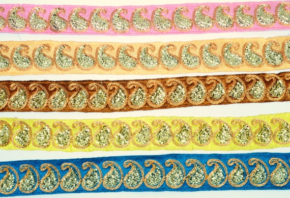 9 yd 1.2» Wd Zari Paisley pailletée bordure Pérou bleu rose jaune indien galon dentelle bordure pailletée couleur choix TA526tTA530 7ea6c7