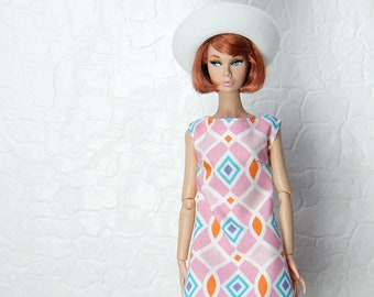 "Pink, orange, white, blue ""mosaic"" dress for Fashion Royalty, FR2, Poppy Parker, NuFace, Barbie and other 12"" fashion dolls"