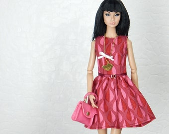 "Pink drop pattern dress for Fashion Royalty, FR2, Poppy Parker, NuFace, Barbie and other 12"" fashion dolls"