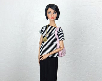 "Black and white striped dress with pleated skirt for Fashion Royalty, FR2, Poppy Parker, NuFace, Barbie and other 12"" fashion dolls"