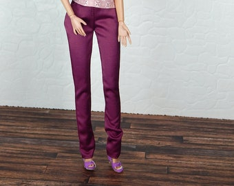 "Dark pink pants for Fashion Royalty, FR2, Poppy Parker, NuFace, Barbie and other 12"" fashion dolls"