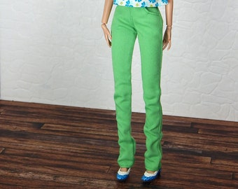"Green cotton pants for Poppy Parker, NuFace 12"" fashion doll"