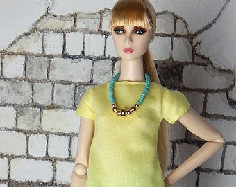 "Light lemon yellow shirt, t-shirt, top for Fashion Royalty, FR2, Poppy Parker, NuFace, Barbie and other 12"" fashion dolls"