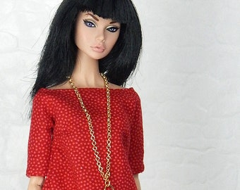 "Red polka dot pattern blouse top for Fashion Royalty, FR2, Poppy Parker, NuFace, Barbie and other 12"" fashion dolls"