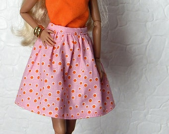 "Pink, orange, polka dot skirt for Fashion Royalty, FR2, Poppy Parker, NuFace, Barbie and other 12"" fashion dolls"