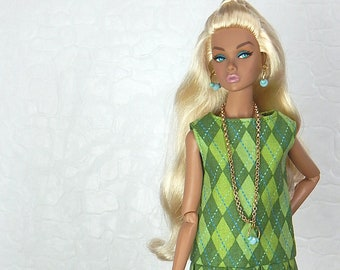 "Green argyle diamond golf pattern dress with pleats for Fashion Royalty, FR2, Poppy Parker, NuFace, Barbie and other 12"" fashion dolls"