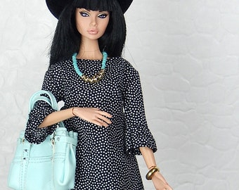 "Black and white polka dot dress with ruffle sleeves for Fashion Royalty, FR2, Poppy Parker, NuFace, Barbie and other 12"" fashion dolls"