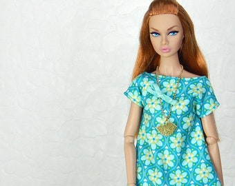 "Turquoise, blue flower pattern dress for Fashion Royalty, FR2, Poppy Parker, NuFace, Barbie and other 12"" fashion dolls"