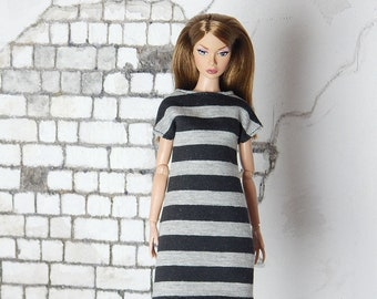 "Capsule Collection black and grey striped dress for Fashion Royalty, FR2, Poppy Parker, NuFace, Barbie and other 12"" fashion dolls"