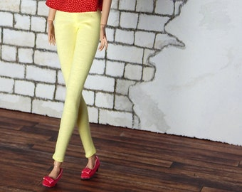 "Light lemon yellow leggins, pants for Fashion Royalty, FR2, Poppy Parker, NuFace, Barbie and other 12"" fashion dolls"