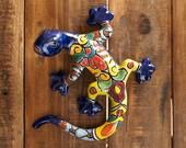 Talavera Ceramic Pottery Garden Sculpture Wall Art Bright Gardening Decor Indoor Outdoor Animals Butterfly Dragonfly Blue Gecko