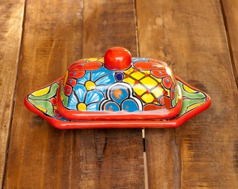 Cobalt Flower Butter Dish with Lid Details about  /Handmade Authentic Mexican Pottery