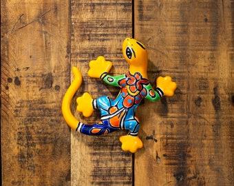Talavera Ceramic Pottery Mini Gecko Garden Sculpture Wall Art Bright Gardening Decor Indoor Outdoor Animals Butterfly Dragonfly- Marigold