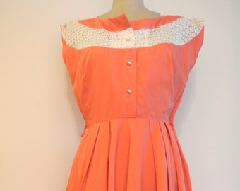 1950s coral vintage summer day dress