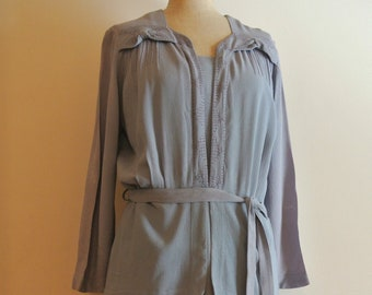 1930s blue lavender crepe dress